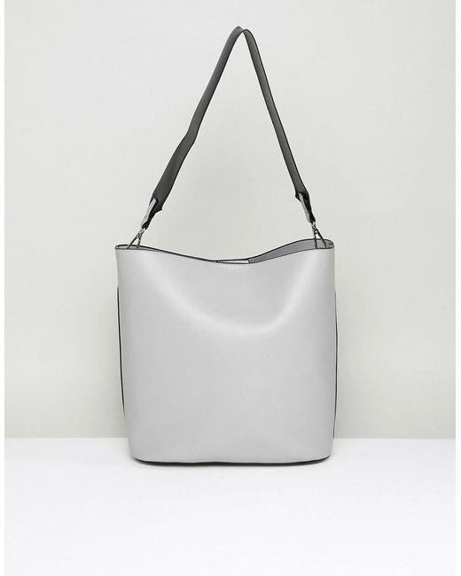 Park Lane - Gray Structured Shoulder Bag With Webbing Strap - Lyst