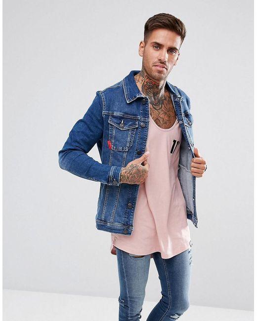 11 Degrees - Muscle Denim Jacket In Midwash Blue for Men - Lyst