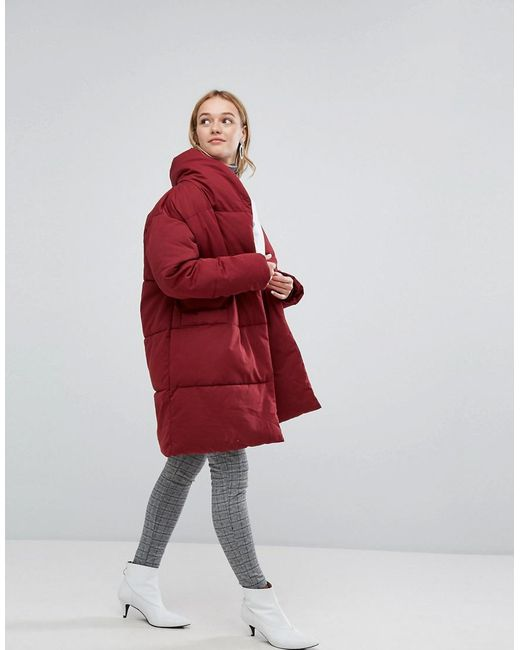 Monki Padded Oversized Coat in Red | Lyst