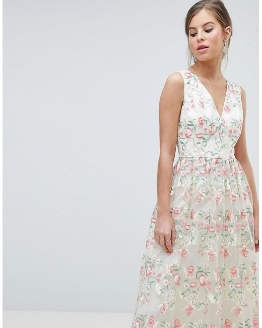Chi Chi London - Multicolor Plunge Front Premium Embroidered Floral Maxi  Prom Dress - Lyst ... 29390e27b