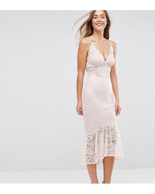 e68737e281 ASOS - Pink Lace Plunge Pephem Midi Dress - Lyst ...