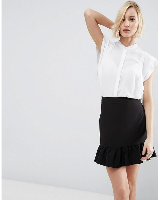 ASOS | White Blouse With Frill Shoulder | Lyst
