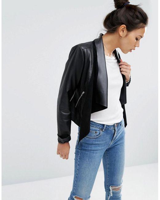 ASOS | Black Leather Waterfall Jacket | Lyst