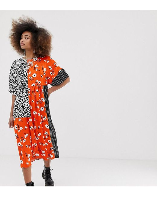 ee5e321351b3db Collusion - Red Mixed Print Smock Dress - Lyst ...