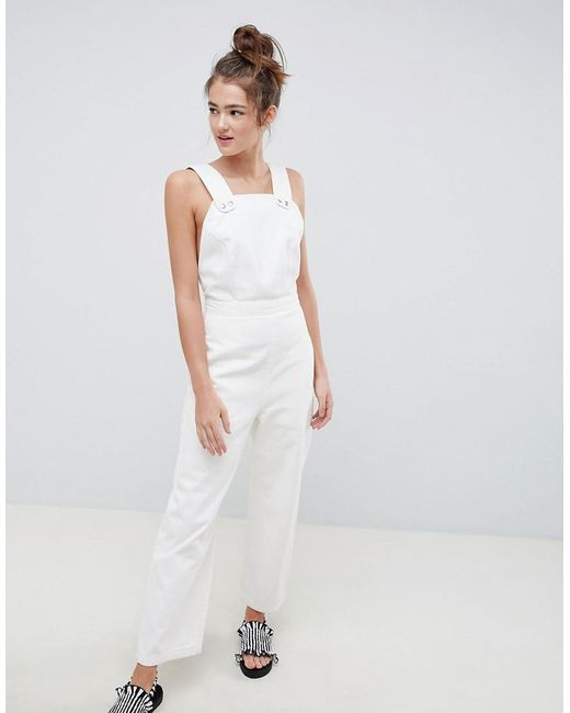 ASOS - Denim Jumpsuit In White With Popper Detail - Lyst