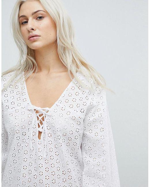 Crochet Effect Beach Dress - White Liquorish PPsXDgmqXZ