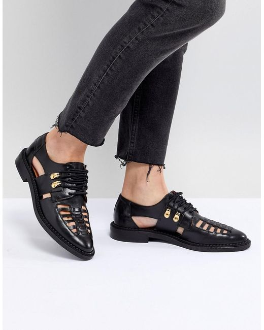 SELECTED - Black Femme Leather Caged Lace Up Flat Shoe - Lyst