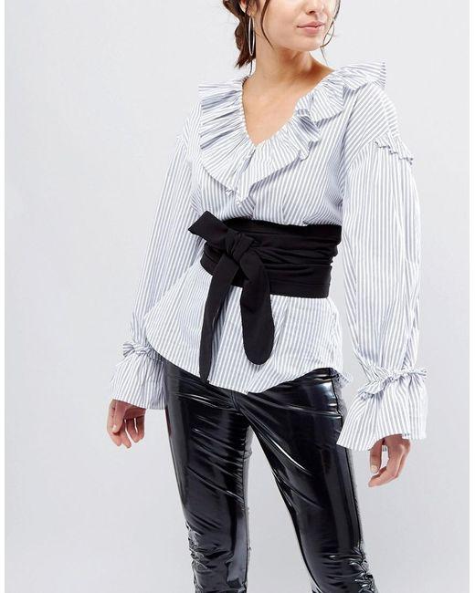 ASOS - Design Black Fabric Obi Belt - Lyst