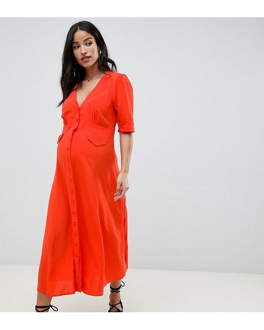 ASOS - Red Asos Design Maternity Midi Skater Dress With Pockets - Lyst ... 7f3c85067