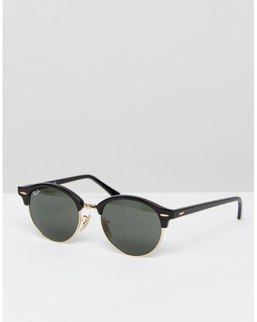 0f9d8955790df4 Ray-Ban - Black Clubmaster Round Sunglasses 0rb4246 for Men - Lyst ...