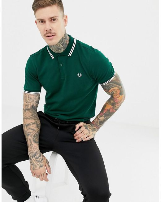 0658bd23 Fred Perry Twin Tipped Polo In Green in Green for Men - Lyst