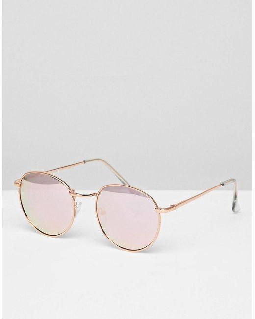 Glamorous - Metallic Rose Gold Round Flash Lens Sunglasses - Lyst