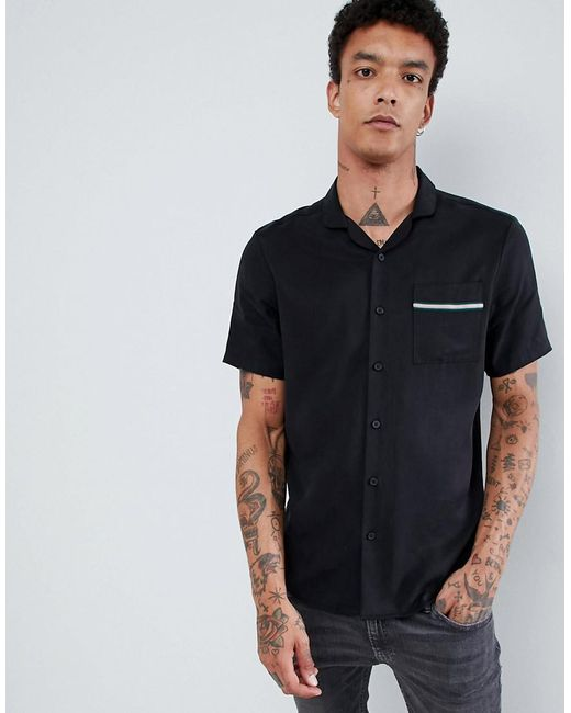 ASOS - Regular Fit Revere Collar Shirt With Tape In Black for Men - Lyst