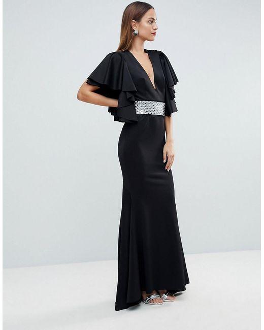 Lyst - Asos Red Carpet Deep Plunge Scuba Ruffle Sleeve Maxi Dress ...