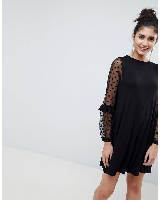 Lyst Asos Shift Dress With Dobby Mesh Sleeves In Black