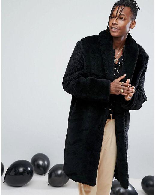 ASOS DESIGN - Asos Patchwork Faux Fur Overcoat In Black for Men - Lyst