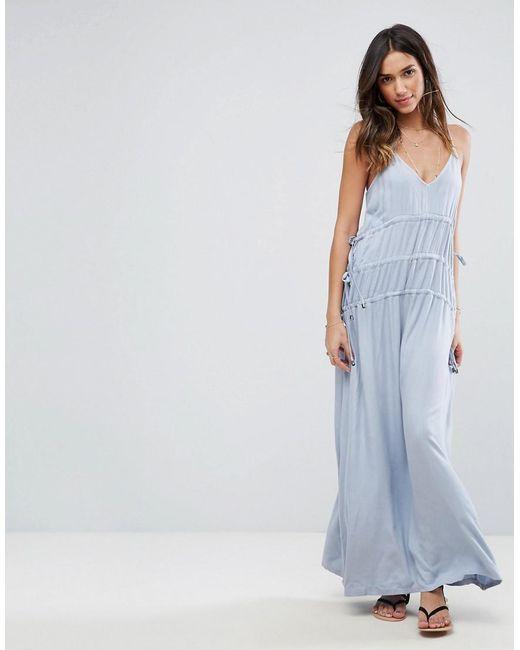 ASOS | Blue Drawstring Maxi Dress | Lyst