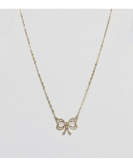 Ted Baker - Metallic Gold Bow Pendant Necklace - Lyst