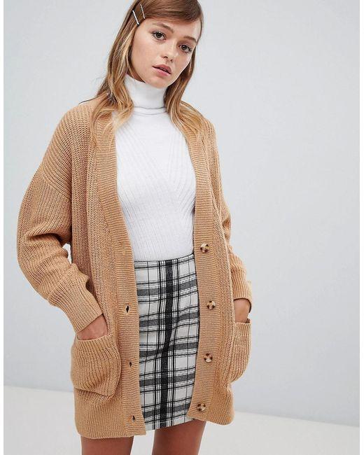 Monki - Brown Oversized Cardigan In Camel - Lyst
