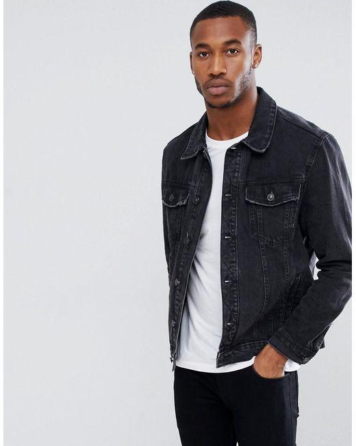 Bershka - Denim Jacket In Black for Men - Lyst