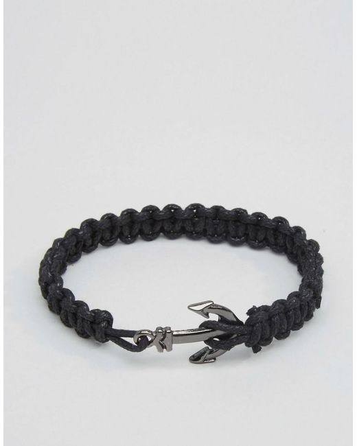 ASOS | Black Rope Bracelet With Anchor for Men | Lyst