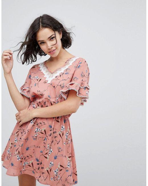 Liquorish - Pink Floral Dress With Trim - Lyst