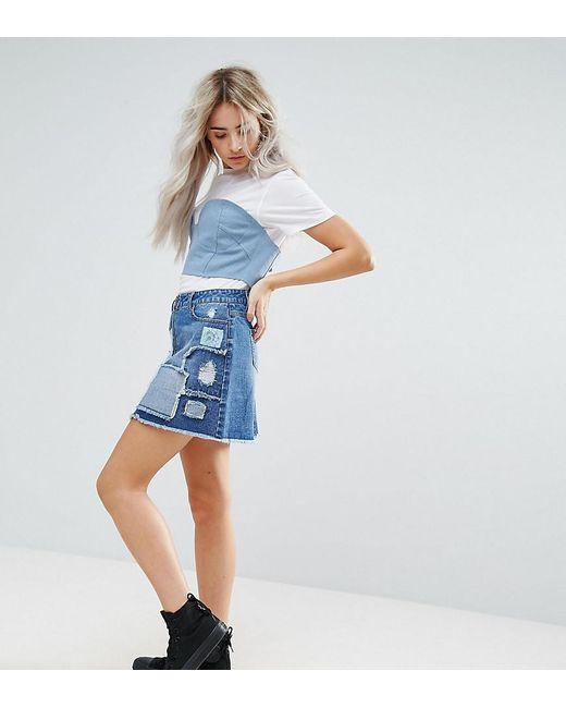 Urban Bliss - Blue Deconstructed Lace Patchwork Denim Mini Skirt - Lyst
