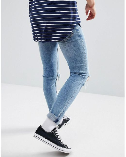 aebe6cf7dc3 ... Cheap Monday - Blue Tight Skinny Jeans With Blown Out Knees for Men -  Lyst