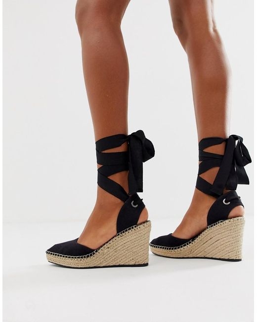 diseñador de moda eb1f7 e11a0 Cuñas de ancho especial estilo alpargata en negro Jaylen de mujer