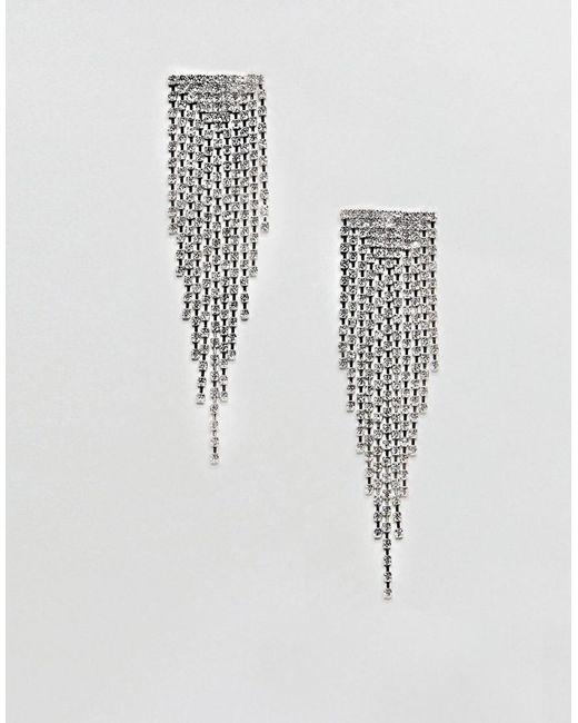 ASOS - Metallic Design Earrings With Crystal Drop Design In Silver - Lyst