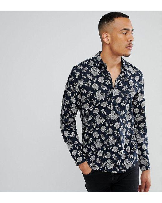 Lyst - Asos Tall Regular Fit Vicsose Floral Print Shirt in Blue ...