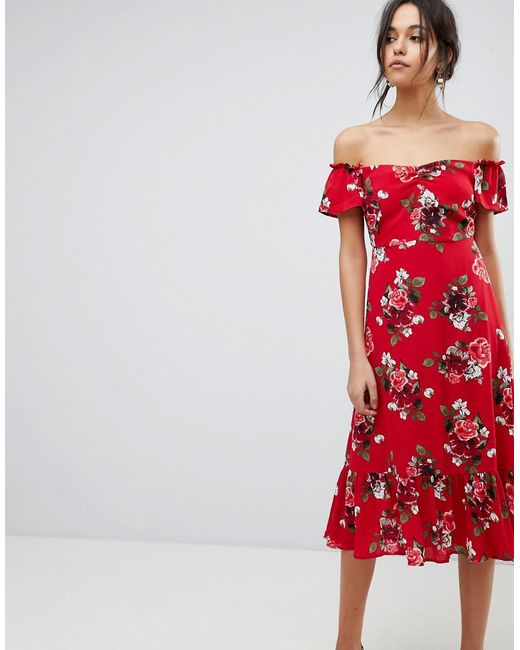 e70d974aac0 Y.A.S - Red Floral Off Shoulder Midi Dress With Ruffle Hem - Lyst ...