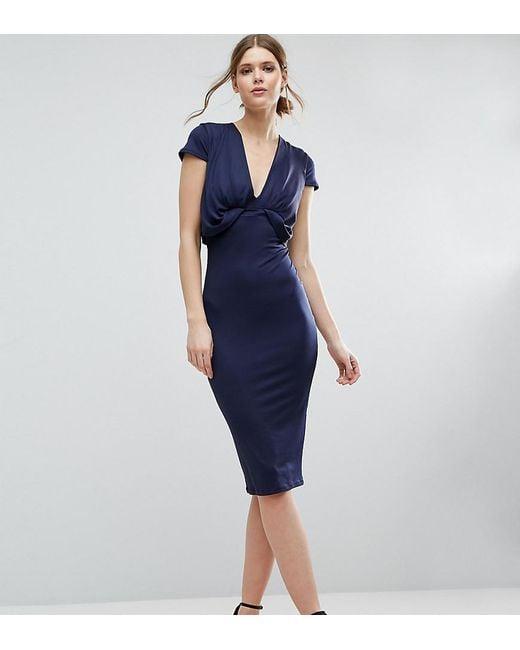 ASOS | Blue Crepe Fold Front T-shirt Midi Dress | Lyst