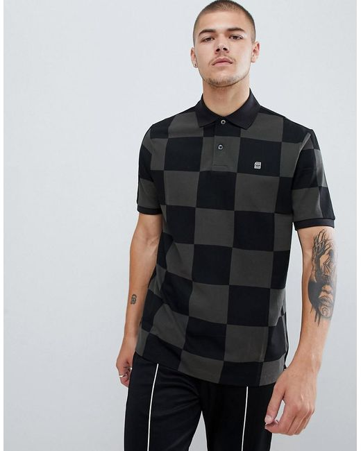 Lyst - G-Star Raw Checkerboard Polo Shirt In Black in Black for Men ... 93cb8d4a9a