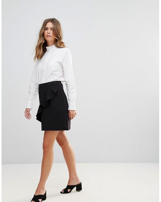 B.Young - Black Ruffle Panel Mini Skirt - Lyst