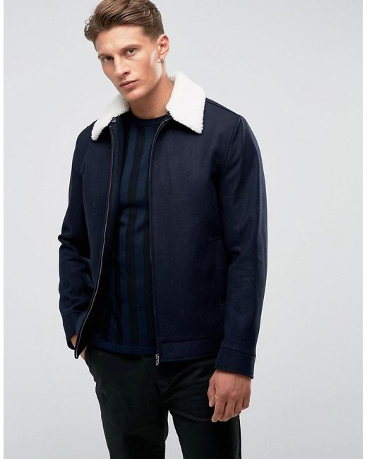 French Connection - Blue Blouson Harrington en laine avec col imitation peau de mouton for Men - Lyst