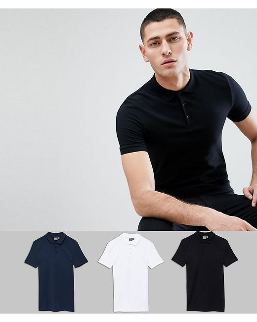 ASOS - Black Muscle Fit Polo In Jersey 3 Pack Save for Men - Lyst
