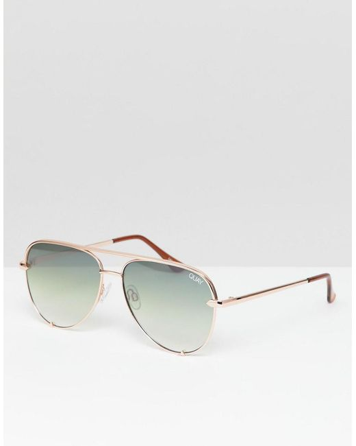 Quay - Pink X Desi High Key Mini Aviator Sunglasses In Green Fade for Men - Lyst