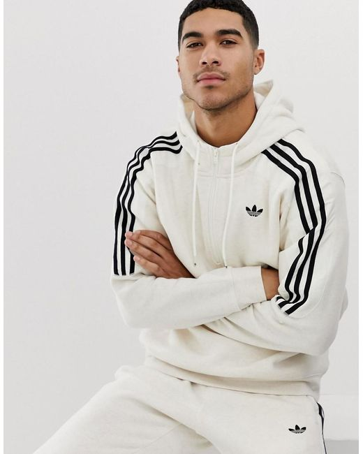 82296c53e42b Adidas Originals - Natural Hoodie With Trefoil Logo Print 3 Stripes In  Beige Fh6885 for Men ...