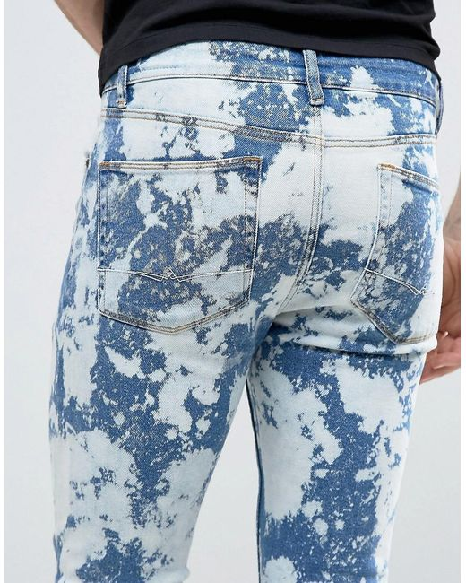 Asos Super Skinny Jeans With Bleach Spots Mid Blue In Blue