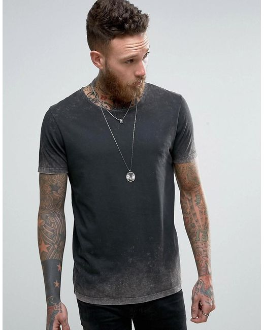 ASOS | Gray Longline T-shirt With Acid Wash for Men | Lyst