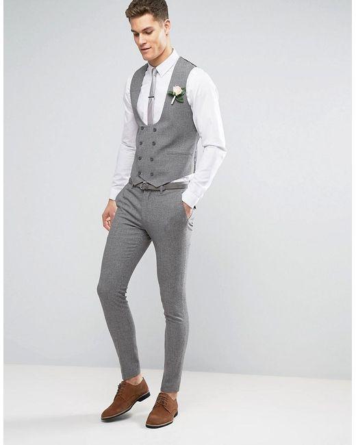 Asos Wedding Super Skinny Suit Pants In Mini Check In Gray in Gray ...
