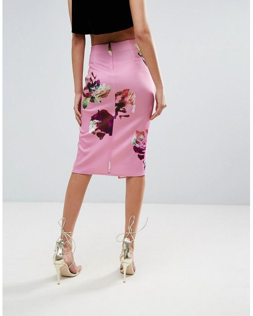 Asos Scuba Pencil Skirt With Bow Detail In Print in Pink | Lyst