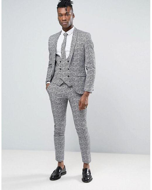 Noose and monkey Super Skinny Suit Jacket With Floral Flocking in ...
