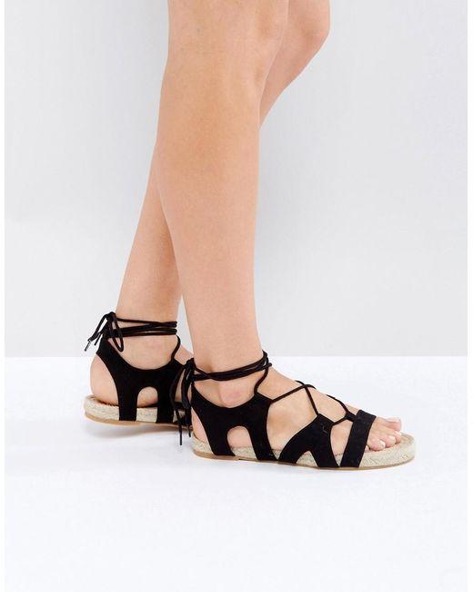 asos jordy lace up espadrille sandals in black lyst. Black Bedroom Furniture Sets. Home Design Ideas