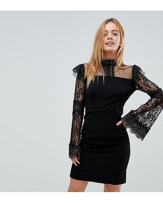 602c7eb387 Boohoo - Black Lace And Crochet Detail Bodycon Dress - Lyst ...