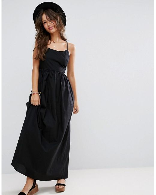 asos open back maxi dress in casual fabric in black lyst
