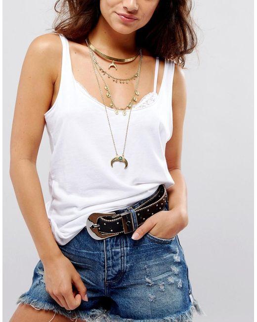 ASOS   Metallic Multirow Layered Choker Horn Necklace   Lyst