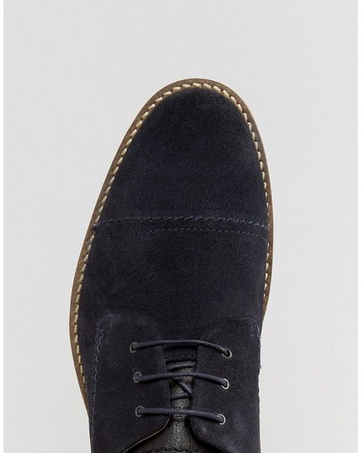 jack jones billy suede toe cap derby shoes in blue for. Black Bedroom Furniture Sets. Home Design Ideas