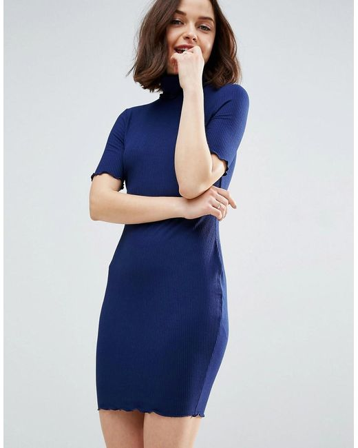 ASOS | Blue Bodycon Dress In Rib With Roll Neck | Lyst